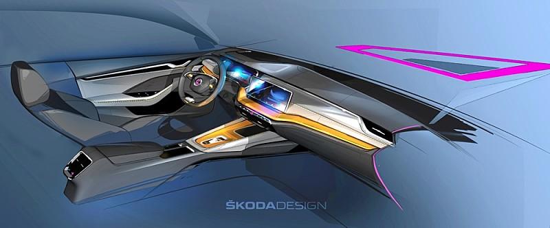 Škoda Octavia 4 interier skica
